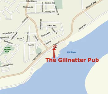 Map showing location of the Gillnetter Pub